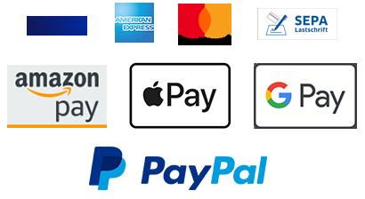 Schnell und sicher bezahlen mit Kreditkarte, Amazon Pay, Apple Pay oder PayPal